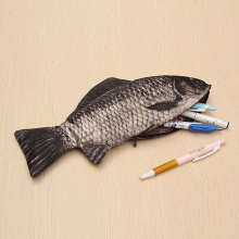 Fish Shape Pen Bag Carp Storage With Zipper School Office Pencil Stationery Organizer Case Home Makeup Brush Cosmetic Pouch
