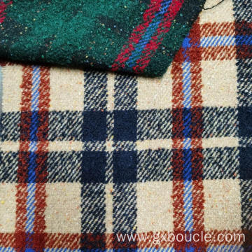 Woolen Boucle checked with colorful dot design fabric