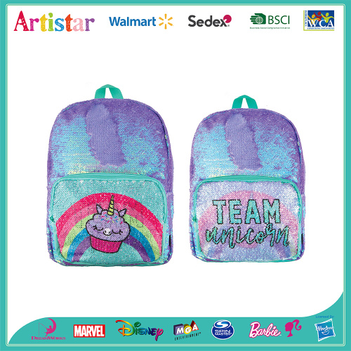 blue and purple unicorn sequin backpack