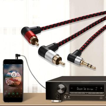 90degree 3.5mm jack to 2RCA Audio Cable Wrapped Shielded For Speakers Amplifier Mixer