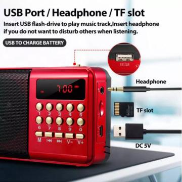 ZK40 K9 Mini Portable Radio Handheld Digital FM USB TF MP3 Player Speaker Rechargeable