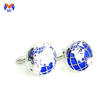Metal plain tellurion cufflink for man blue