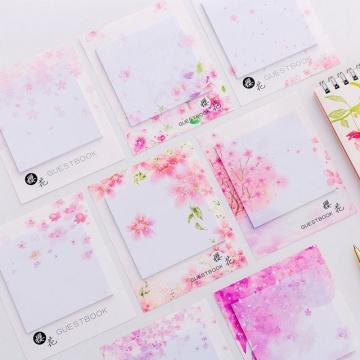 2020 Fresh Cherry Sakura Natural Memo Pad Sticky Notes List Escolar Papelaria School Supply Label