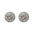 Sterling Silver Round CZ Stud Earrings