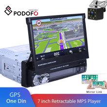 "Podofo One din Car radio MP5 Player GPS Navigation Multimedia car audio stereo Bluetooth 7"" HD Retractable Autoradio AUX-IN /FM"