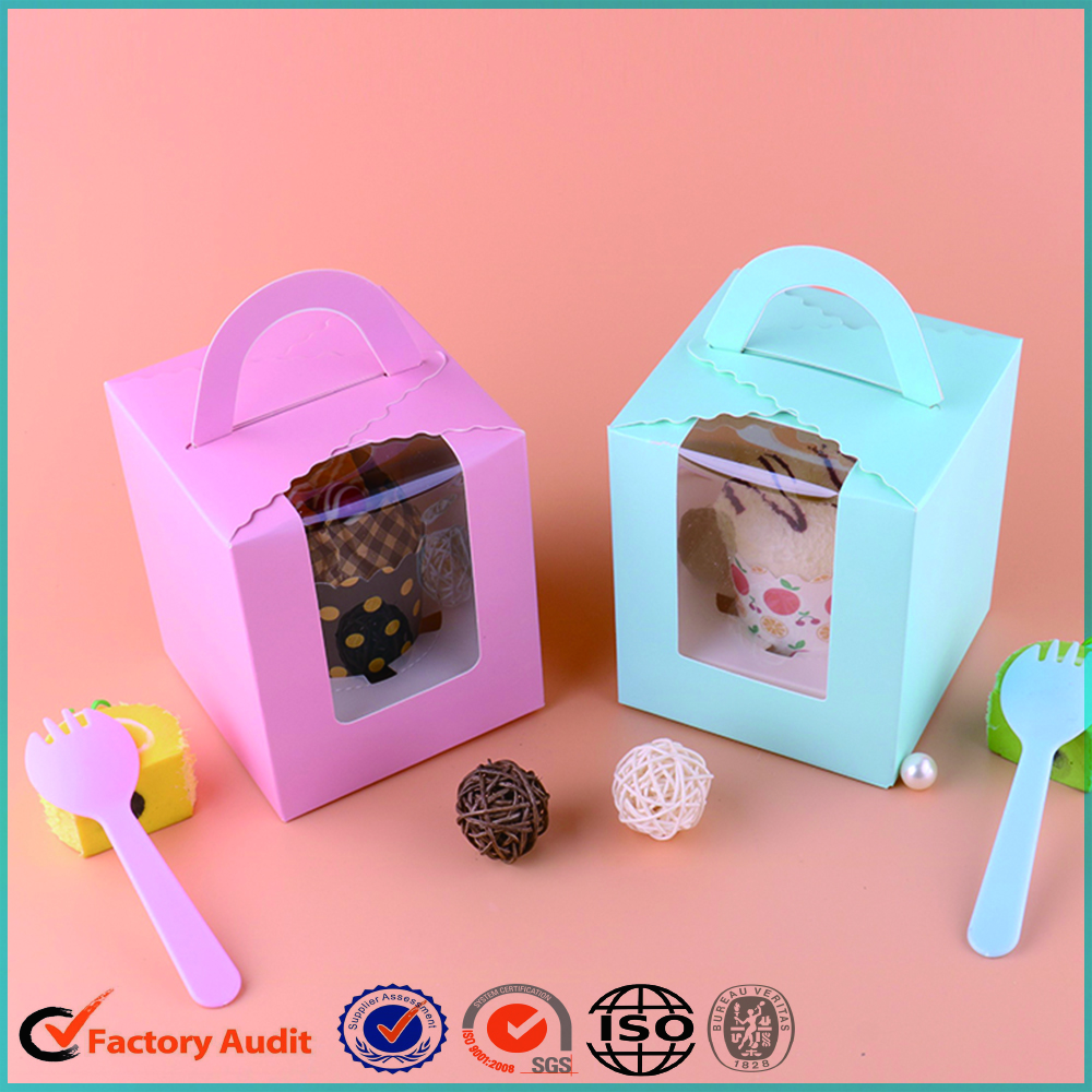 Single Pack Cupcake Packaging Box PVC Window