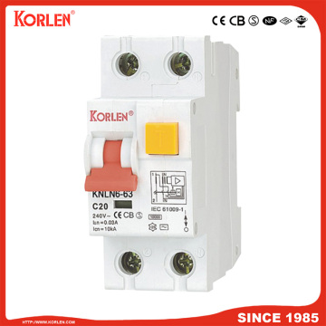 Magnetic Type 10ka 1p+N RCCB with Overcurrent Protection
