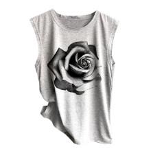 Women Tank Top Summer Sleeveless O-Neck Rose Printed Casual Loose Vest Comfortable Top Debardeur Femme #T20