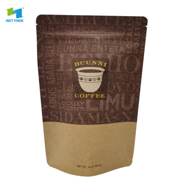 Recycled kraft paper aluminum foil stand up coffee bag