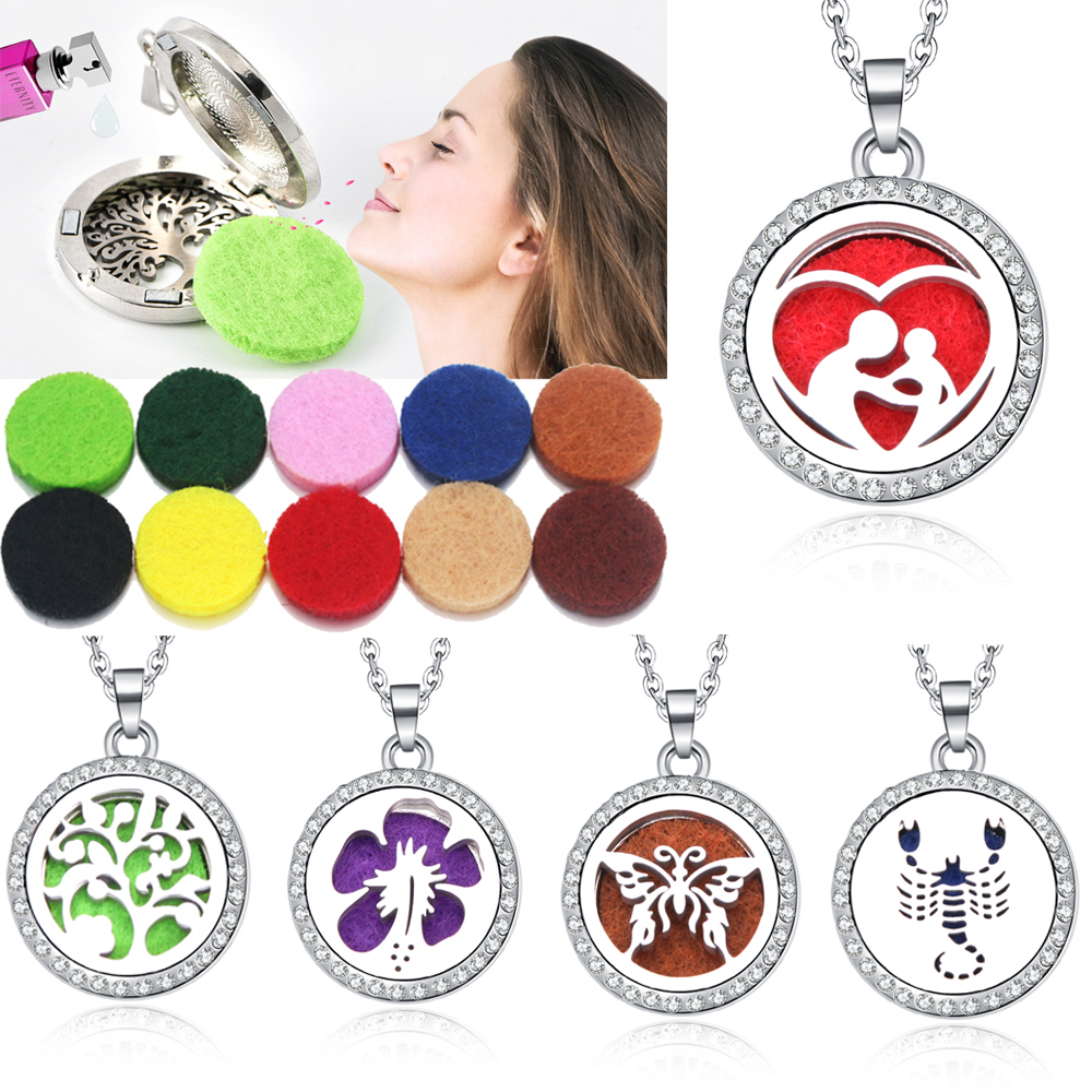 Mixed style Aroma Box Necklace Magnetic Stainless Steel Aromatherapy Essential Oil Diffuser Perfume Box Locket Pendant Jewelry