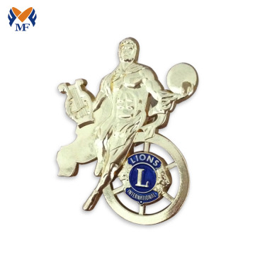 Metal gold lion club event pin badge