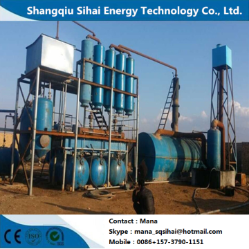 Waste tire oil purified to diesel distillation plant