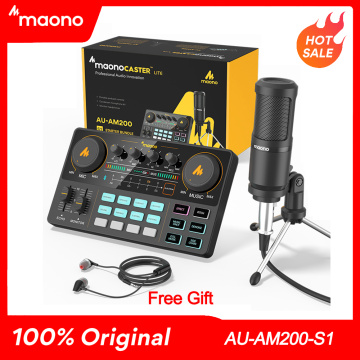 Maono Caster Am200-s1 Full Staff Microphone Mixer Sound Card Audio Podmaster With Codener Mic & Earphone For PC Phone YouTube