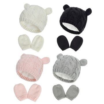 Baby Hat and Mittens Set Kids Knitted Beanie Cap Winter Warm Pompom Hats Gloves New Dropship
