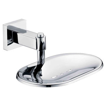 Wall-Mounted Soap Dish Holder With Drain Chrome