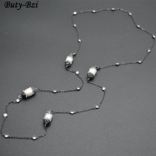 Paved Black Crystal Natural White Fresh Water Potato Pearl Linked with CZ Beads Long Chains Necklace Fashion Sweater Jewelry