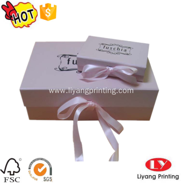 Luxury cardboard ribbon folding gift packaging box