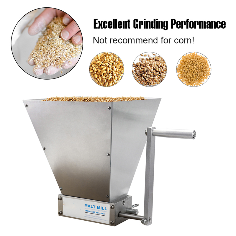 VIP Stainless Steel 2 Roller Malt Mill Crusher Home Brewing Grain Crusher Manual Adjustable Barley Grinder With Wooden Base