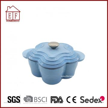 Enamel flower shape saucepan cast iron cooking pot