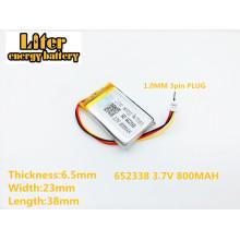 652338 3.7V 800mAh Rechargeable li-Polymer Battery For toys millet GPS TEXET DVR mp3 mp4 cell phone speaker 622338 602338