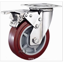 4  inch Stainless steel bracket  PU  casters with  brakes