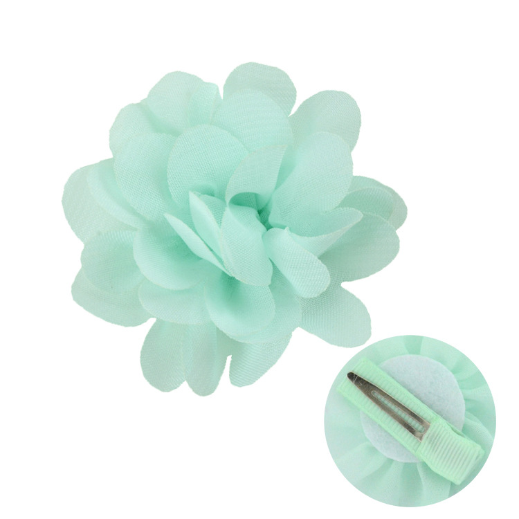 Chiffon flowers with hairpin hair accessories for children (3)