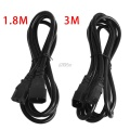 IEC 320 3-Pin C14 male To C13 Female main Power Extension Cord Lead Cable 1.8/3m T15 Drop ship