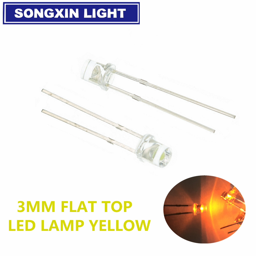 100pcs F3 3mm 2pins Flat Top White Red Yellow Blue Green Pink Diode Led Wide Angle Light Emitting Diodes Lamp Ultra Bright Bulb
