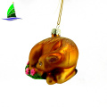 hand blown glass fawn and flowers christmas ornaments