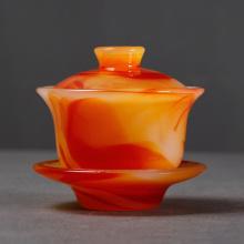 140ml Agate Jade Porcelain Tea Bowl China Tea Tureen Ceramic Teaware Kung Fu Tea Set Puer Gaiwan Drinkware Decoration Crafts