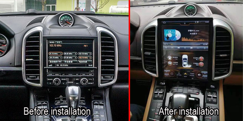 Porsche Cayenne Android display 1216 after installation
