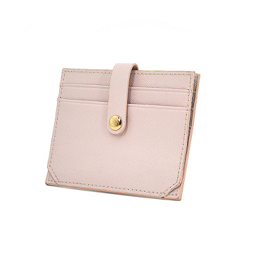Cute Pink Pu Saffiano Leather Credit Card Holder