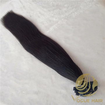 Black flat tip human hair extensions