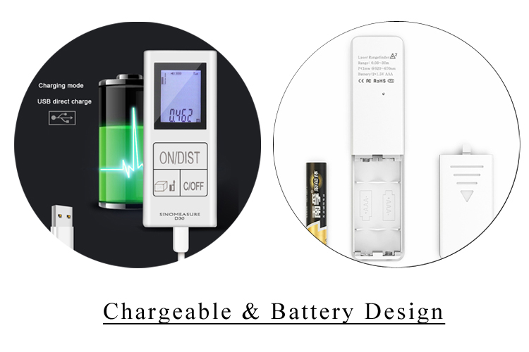 Chargeable & Battery Laser Distance Meter
