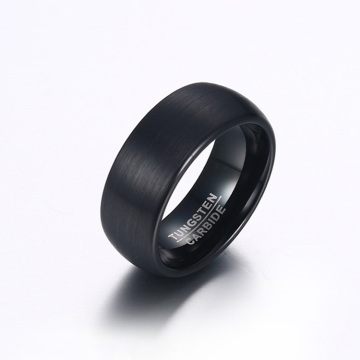 8mm brushed mens black tungsten carbide rings