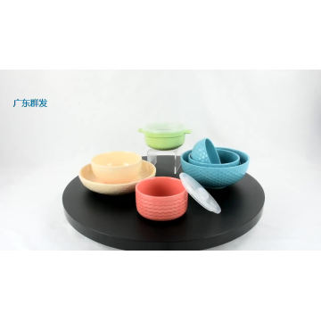 Hot selling embossment storage custom Ceramic tableware set