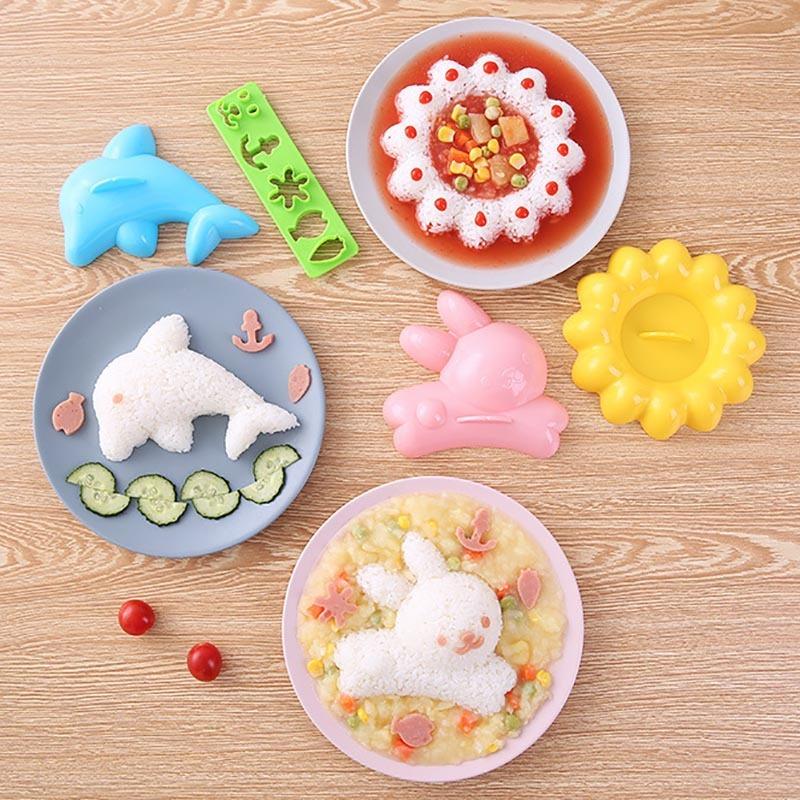 4 Pcs Kids Lunch Bento Mold DIY Mold Tool Cute 3D Cartoon Animal Sushi Maker Rice Kitchen Accessories