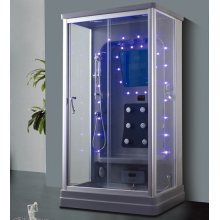 Rectangular One Person Blue Glass Steam Shower Room