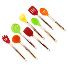 Silicone Kitchen utensil with rose gold plating handle