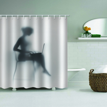 Woman's Shadow Waterproof Shower Curtain Unique Black and White Bathroom Decor