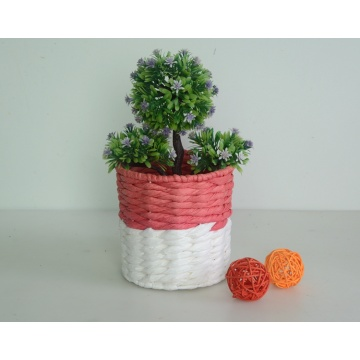 round two tone paper rope decoration basket
