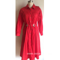 Stand Collar Long Sleeve Cotton Poplin Spandex dress