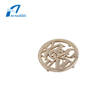 Flower Design Handbag Hardware Logo Metal Clothing Label