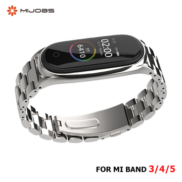 Strap For Xiaomi Mi Band 5 4 3 Stainless Metal Opaska Correa Mi Bend 4 Miband 5 Wristbands Bracelet Global Version NFC