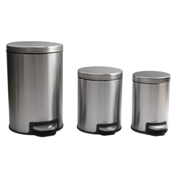 AmazonBasics Round Soft-Close Trash Can Satin Nickel