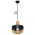 Hot sell glass pendant lamp with wood material