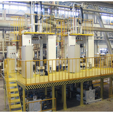 A Low pressure casting machine working