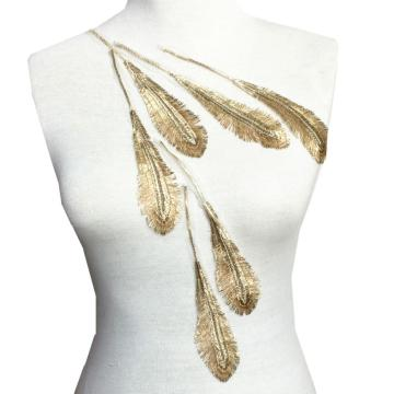 Gold Feather Embroidered Patch Embroidery Applique