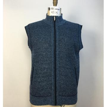 Men's Coarse Knitted Zippered Fleece-lined Waistcoat