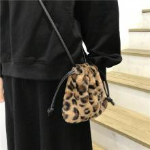 Fashion Plush Retro Leopard Bag Women's Winter 2020 Shoulder Messenger Bag Drawstring Mini Handbag Cute Crossbody Designer Bags